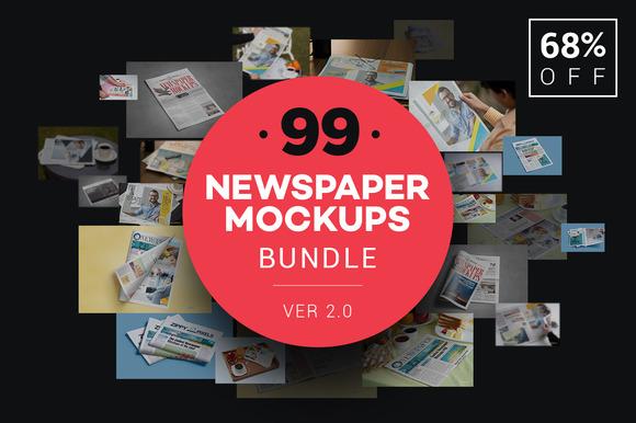 Newspaper Advert. Mockups Bundle - Product Mockups
