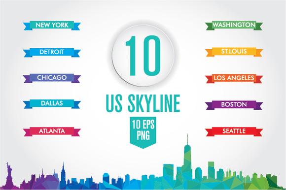 10 US Skyline. Low poly - Illustrations