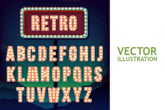 Vintage Letters. Retro Neon Alphabet - Illustrations