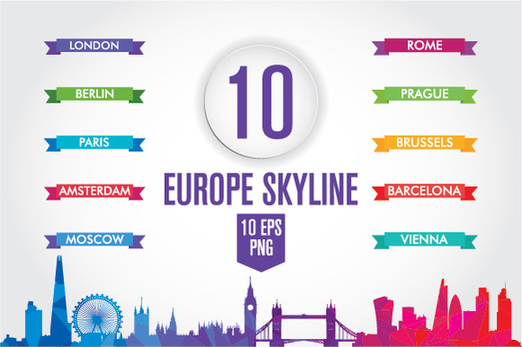10 Europe skyline. Low Poly - Illustrations