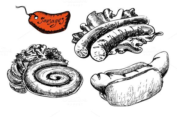 Set of fast food. Sausages. - Illustrations