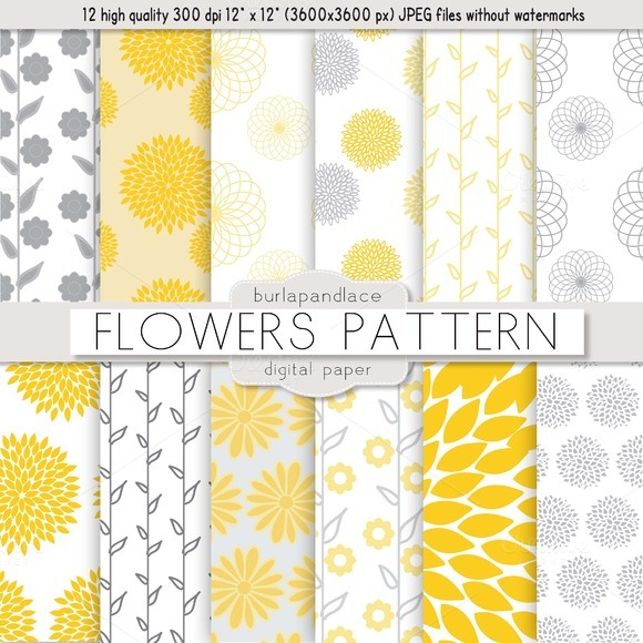 Yellow And Gray Floral Pattern Flower yellow/grey pat...