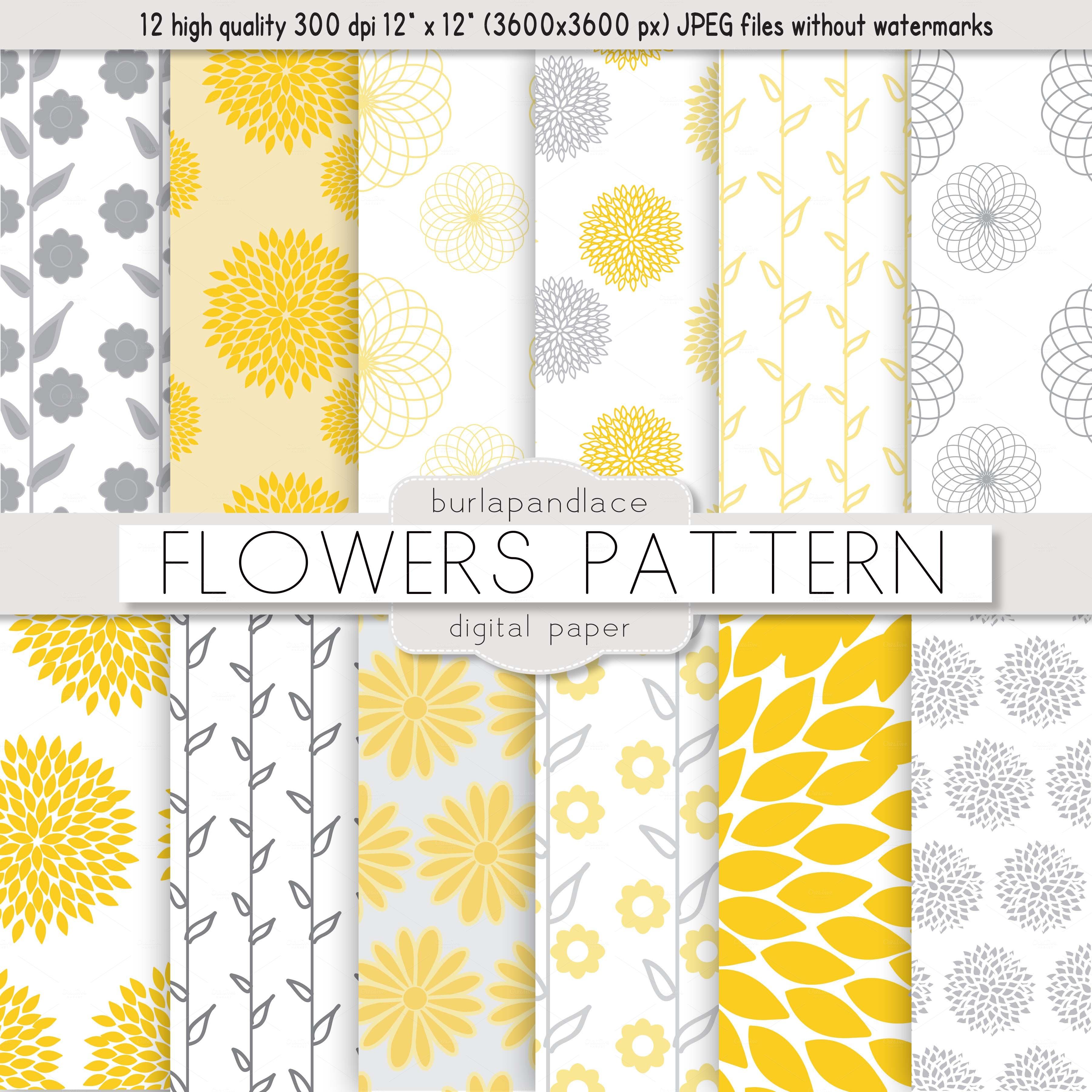 Flower yellow/grey pat...