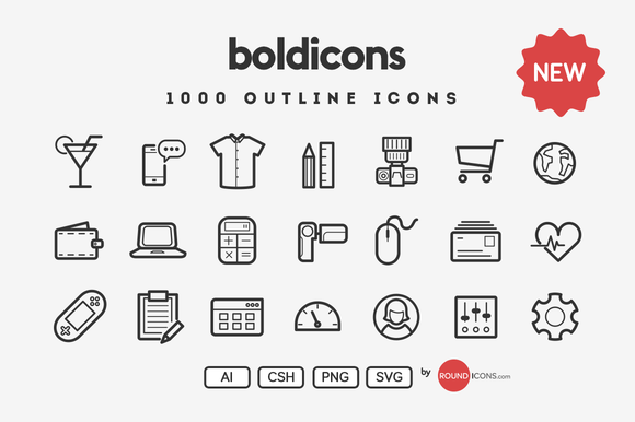 Boldicons - 1000 outline icons - Icons