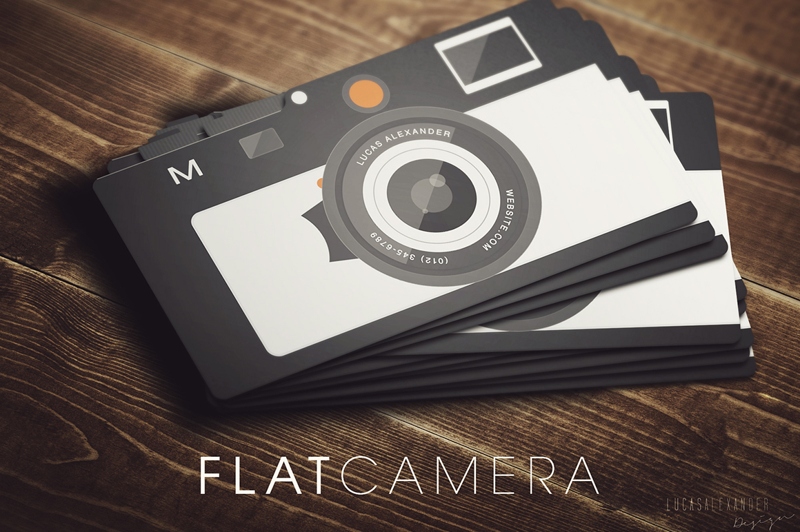 Flat Camera Business Card Business Card Templates on