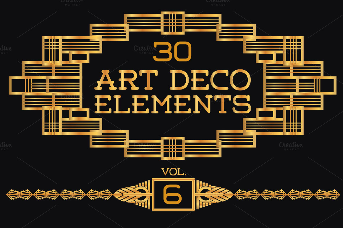 30 art deco elements vol6 illustrations on creative market for Deco 5 elements
