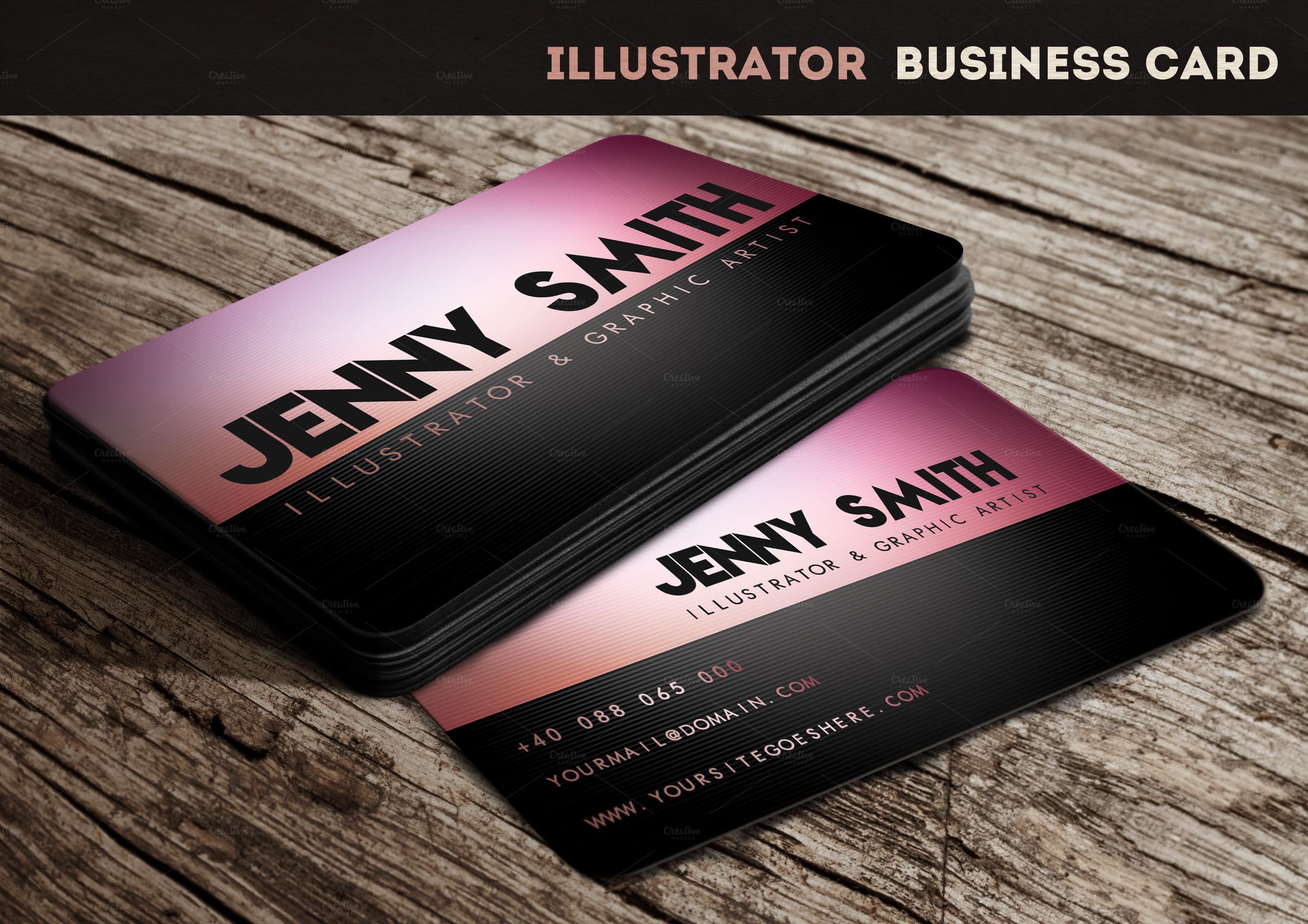 business cards illustrator template business card sample. Black Bedroom Furniture Sets. Home Design Ideas