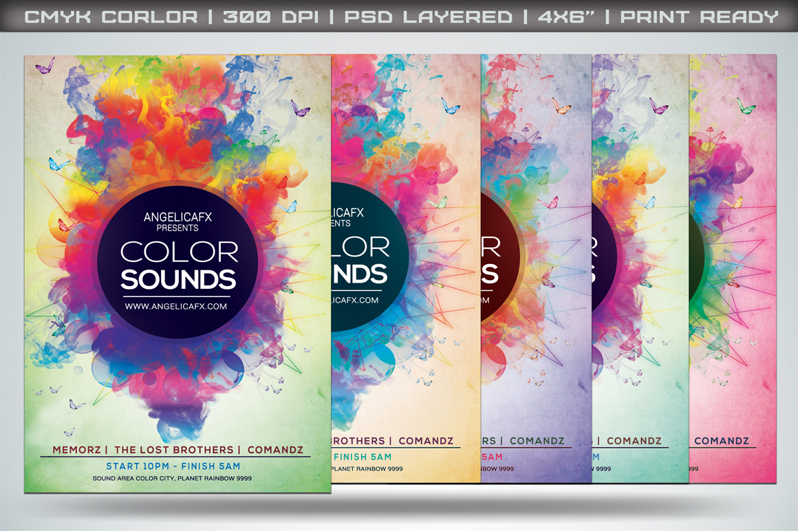 Color Sounds Flyer Template Templates On Creative Market