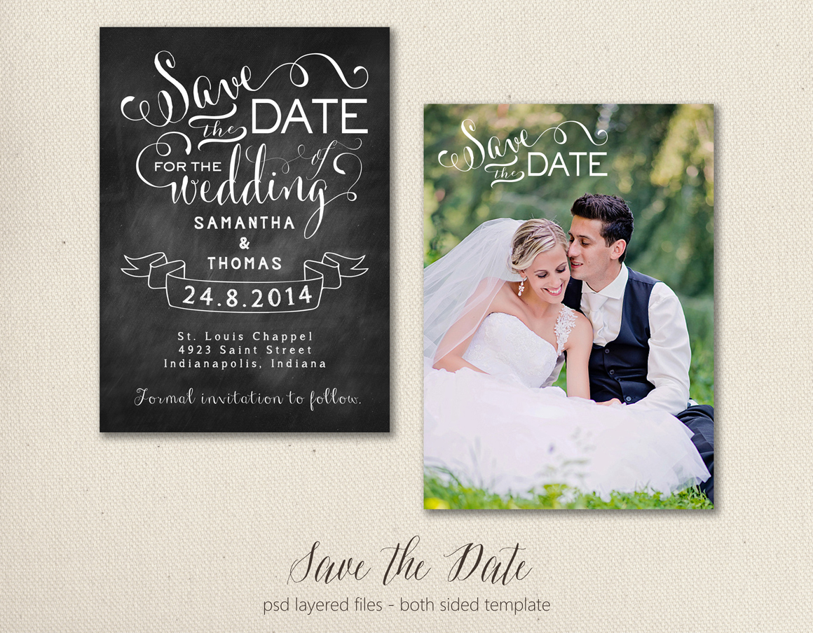 save the date card template 5x7 objects on creative market. Black Bedroom Furniture Sets. Home Design Ideas