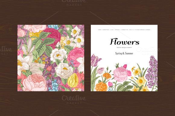 Summer Vintage floral card. Set. - Illustrations