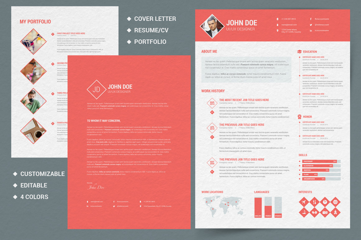 Free Resume Templates Adobe Cv Illustrator Miller