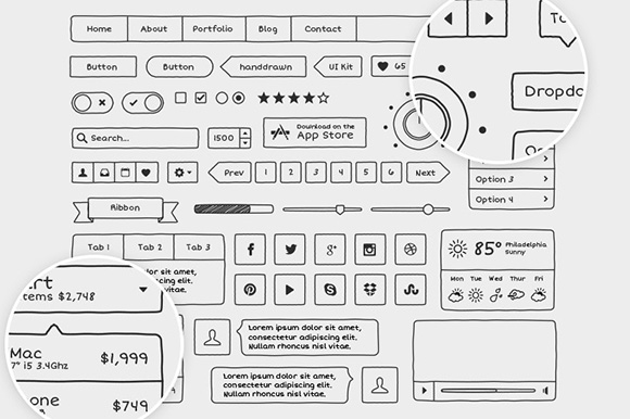 Hand Drawn Vector UI Kit ~ Web Elements on Creative Market