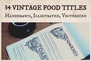 Vintage Food and Menu Titles