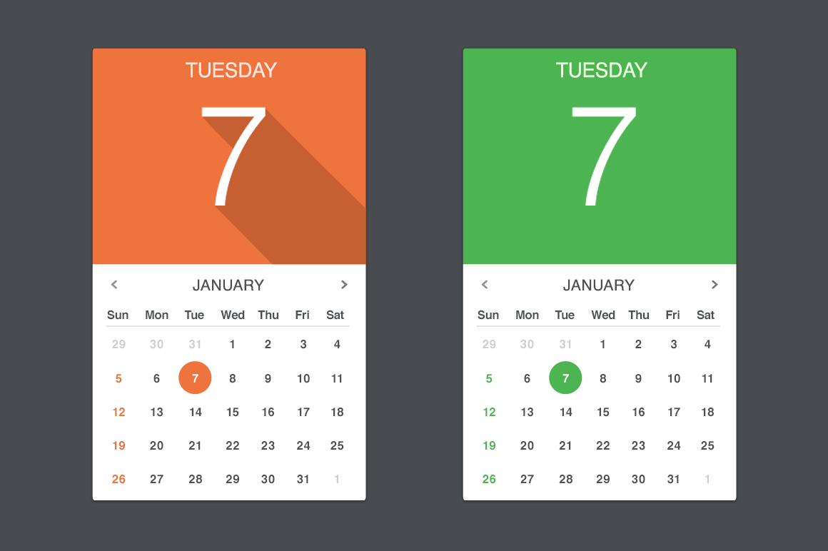 Calendar Web Widget : Flat calendar widget web elements on creative market