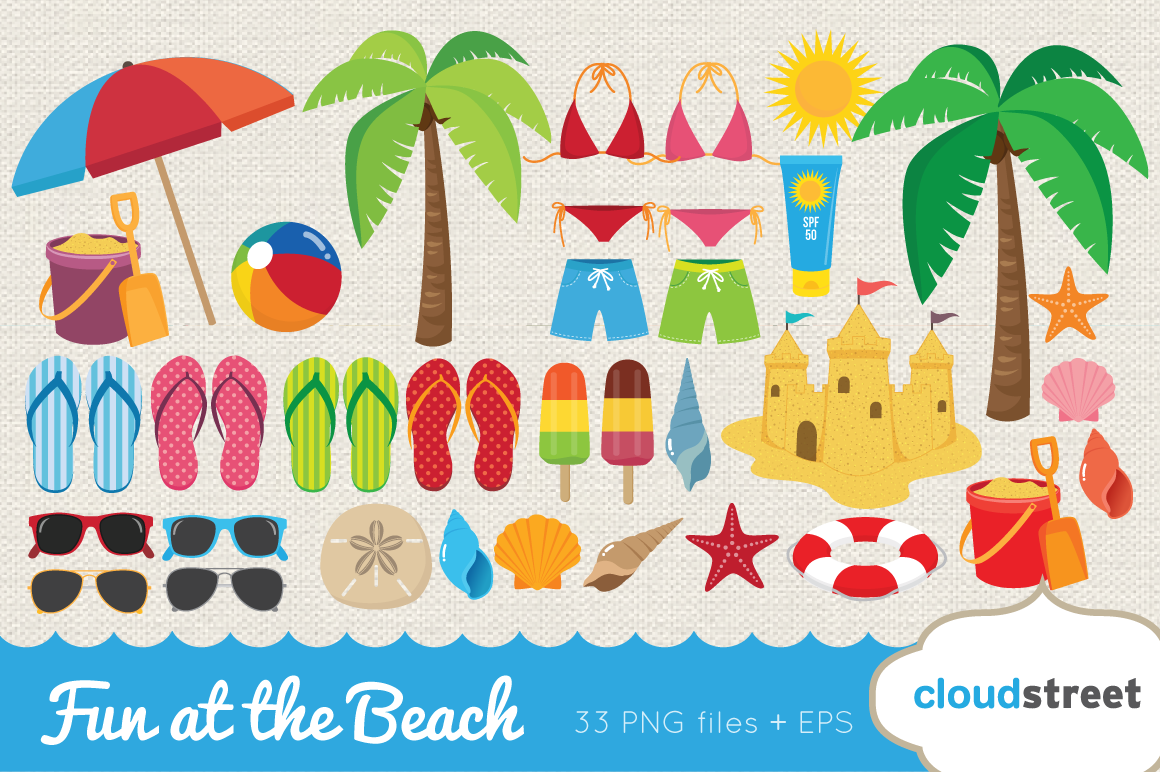 Fun at the beach clipart ~ Illustrations on Creative Market