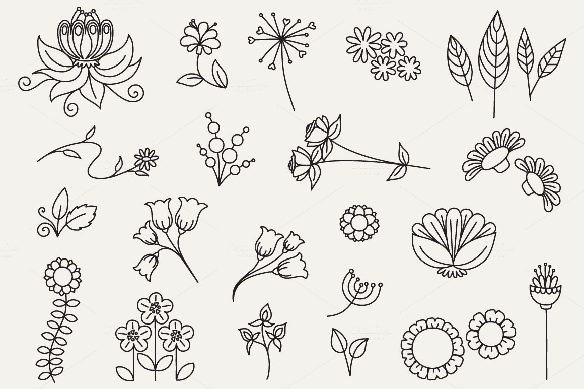 Floral Doodles clip art bumper pack ~ Illustrations on ...