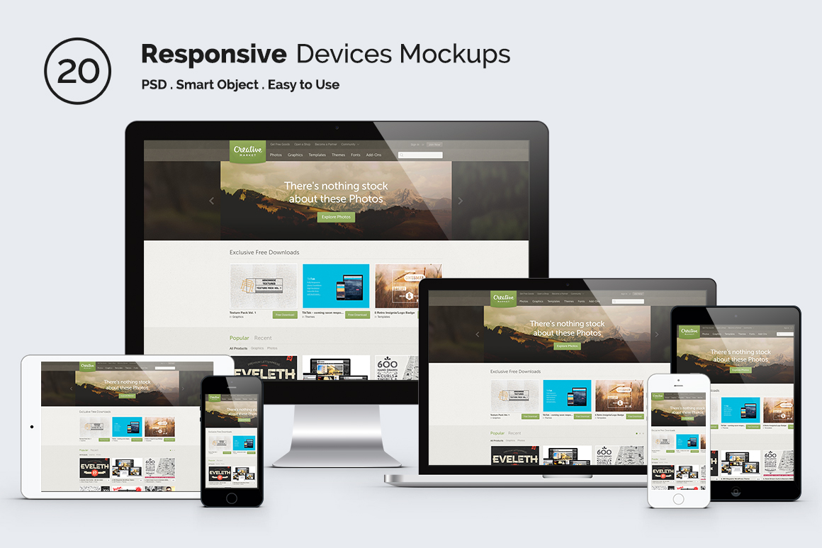 Responsive Screen Devices ~ Product Mockups on Creative Market