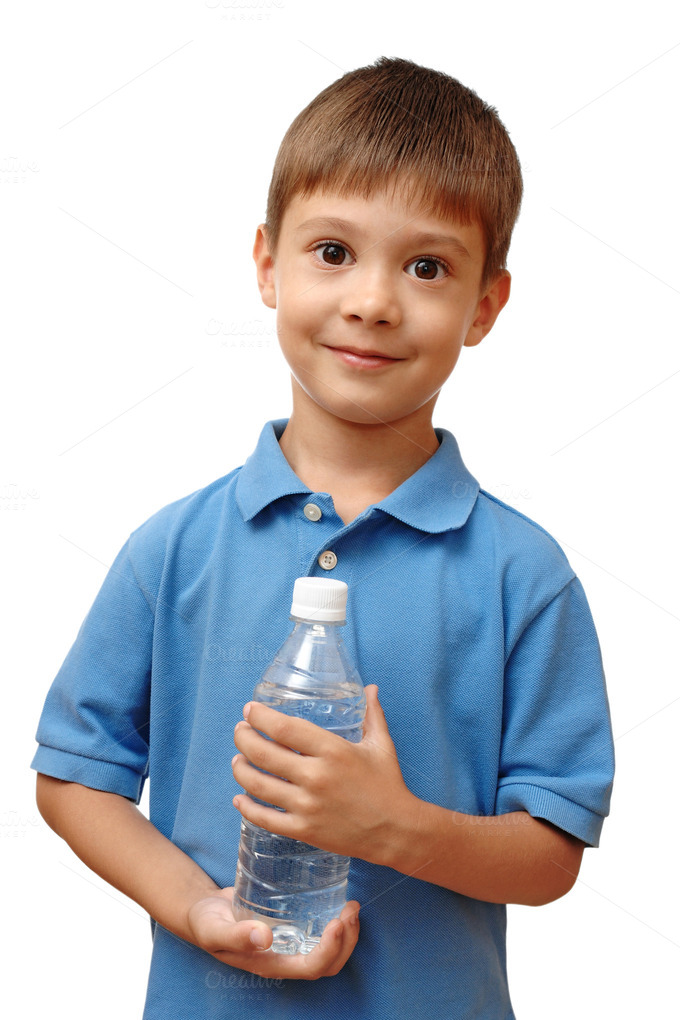 Happy child holds bottle of water ~ Food & Drink Photos on ...