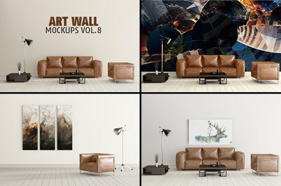 Art Wall Mock-ups VOL.8 - Product Mockups