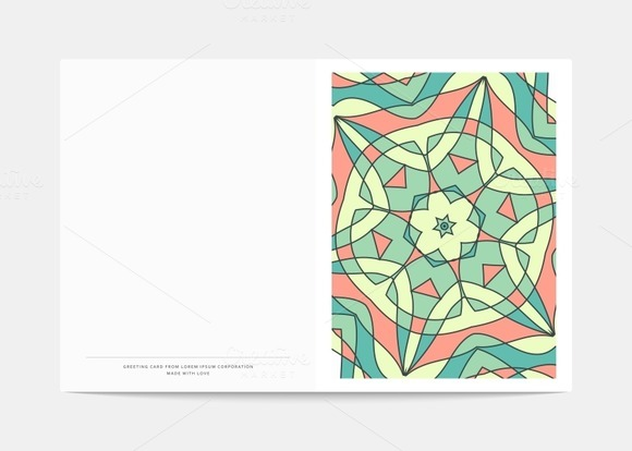 Postcard Retro. Mandala cover - Illustrations