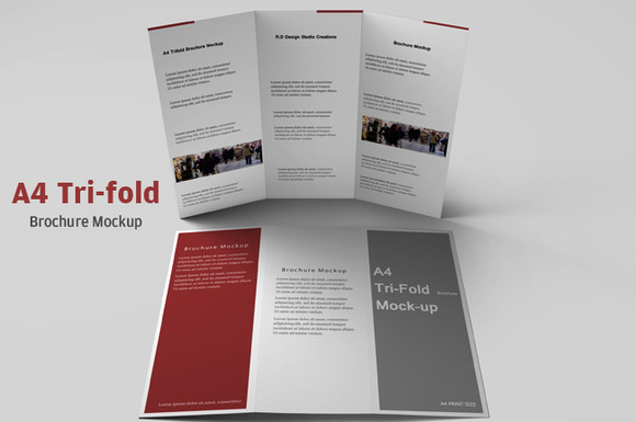 A4 tri fold brochure mockup product mockups on creative for A4 tri fold brochure template