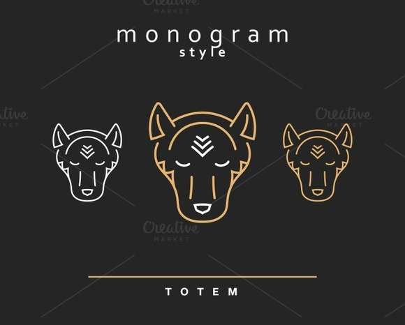 Set of design elements. Wolf Totem - Objects