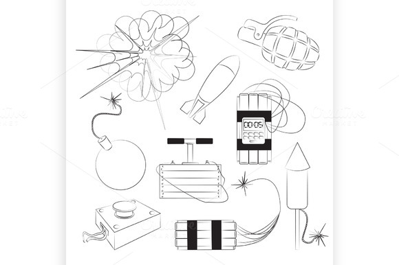 Set of bombs. Explosives - Illustrations