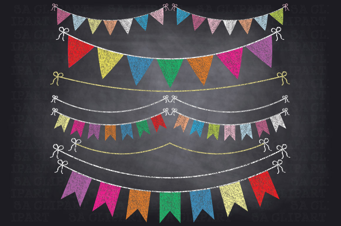 Chalkboard Bunting Banner Clipart ~ Illustrations on ...