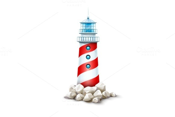 Lighthouse tower at stone rocks hill vector illustration. Sea beacon on seashore stone bank. Eps10 isolated - Illustrations
