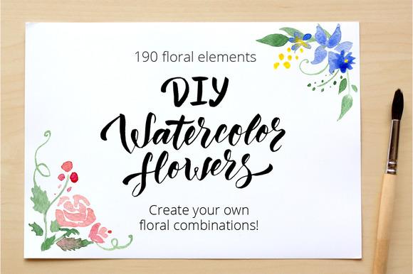 DIY Watercolor flowers. 190 elements - Illustrations