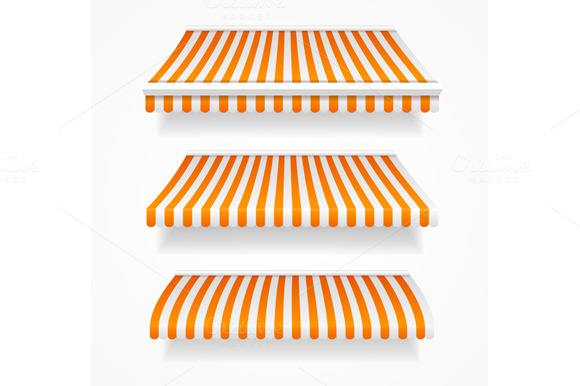 Striped Colorful Awnings Set. Vector - Objects