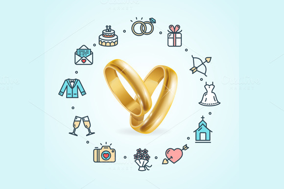 Wedding Concept. Vector - Illustrations
