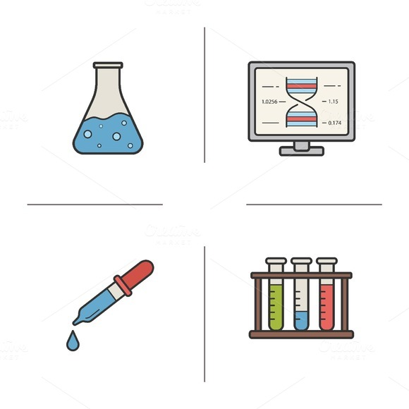 Chemical lab equipment icons. Vector - Icons