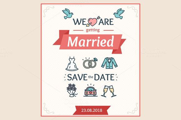 Wedding Invitation. Vector - Illustrations