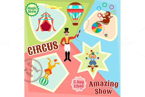 Posters circus. Amazing Show. - Illustrations