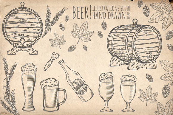 Beer set. Hand drawn objects. - Illustrations