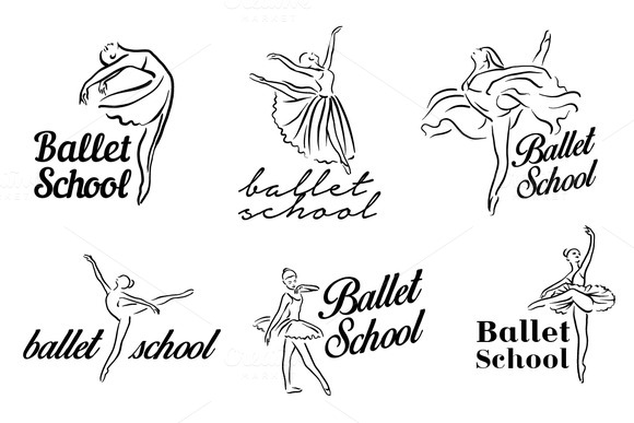 Ballerina illustration. Ballet logo - Icons