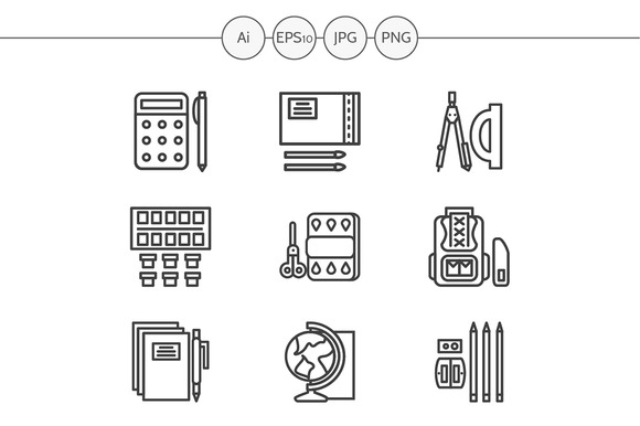 School accessories line icons. Set 1 - Icons