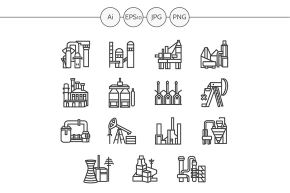 Industrial building line icon. Set 3 - Icons