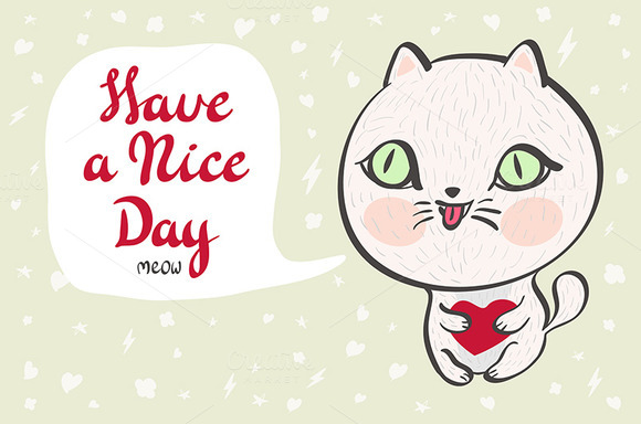 baby cat. Have a nice day vector - Graphics