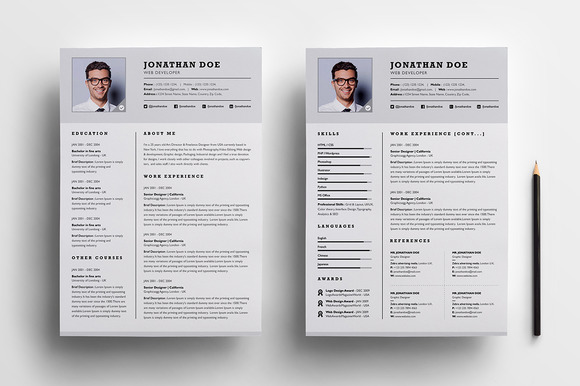 Two Page Resumes. The Best CV Resume Templates 50 Examples Design ...