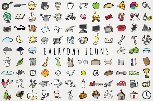 Everyday items to do clipart set icons on creative market for Minimalist household items