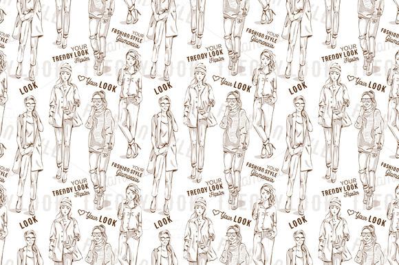 Fashion pattern. Trendy look girls - Patterns
