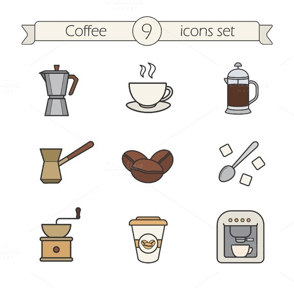 Coffee icons. Vector - Icons