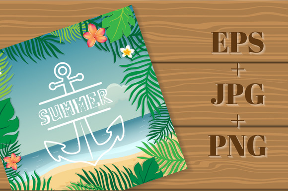 Summer. Tropical summer card. - Illustrations