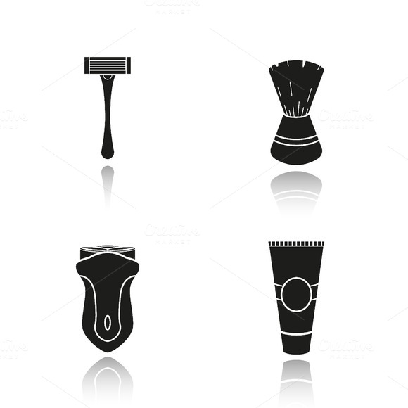 Men's shaving tools icons. Vector - Icons