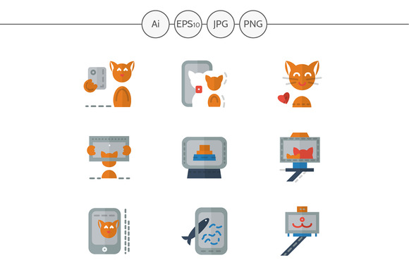 Red cat selfie color icons. Set 2 - Icons