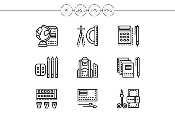 School accessories line icons. Set 2 - Icons