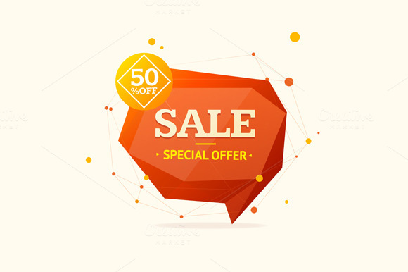 Discount Banner Sticker. Vector - Illustrations