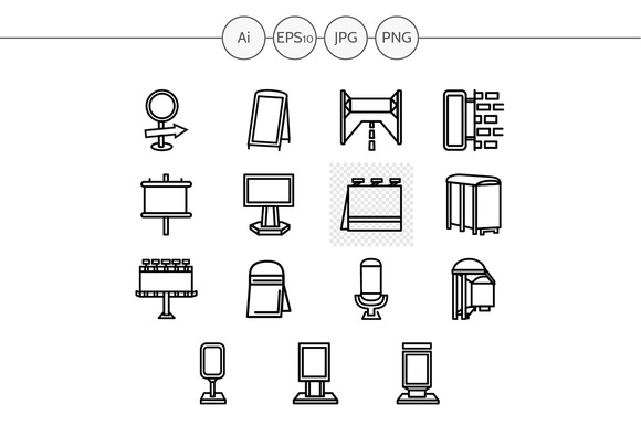Outdoors advertising icons. Set 4 - Icons